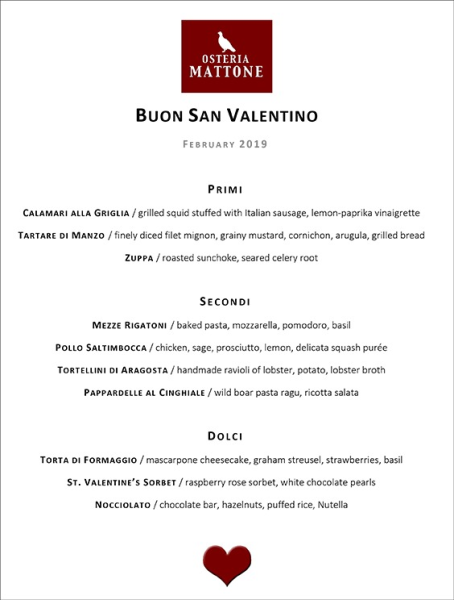 Valentine's Day Menu 2019