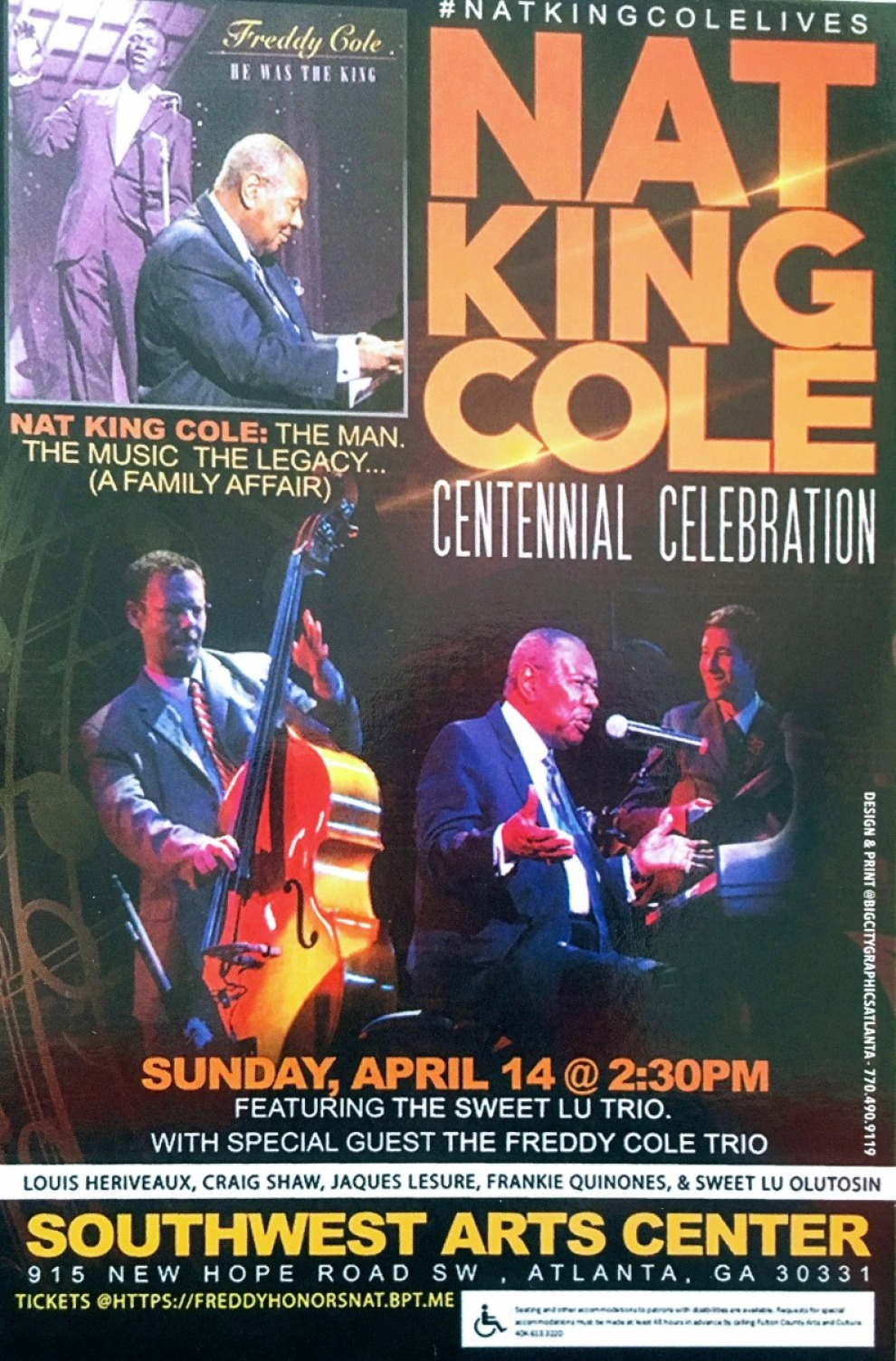 NAT KING COLE CENTENNIAL CELEBRATION – FEATURING FREDDY COLE' On April 14th