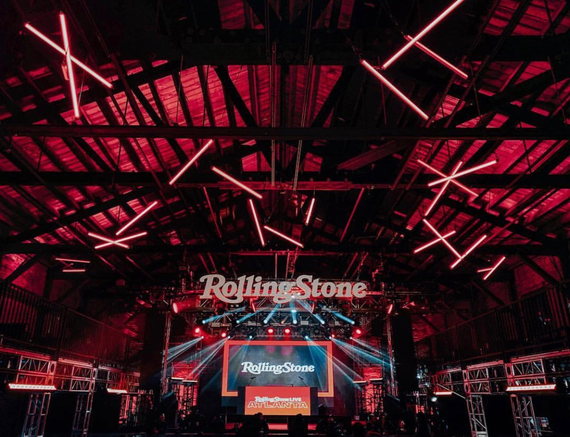 Music Matters Productions transformed the inside of The Goat Farm for the Rolling Stone Super Bowl party. Performances includes Ludacris, Young Thug and Questlove. Photo Cred: @musicmattersprod
