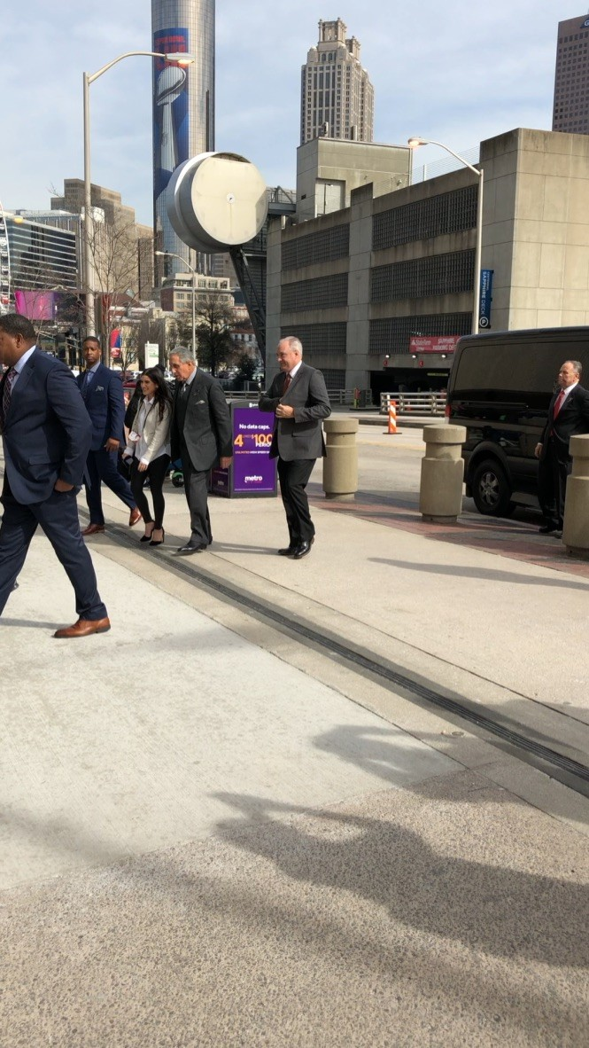 Atlanta Falcons owner Arthur Blank heading into CNN Center Downtown Atlanta Friday Feb 1, two days before Super Bowl 53. Photo by Ema Carr.