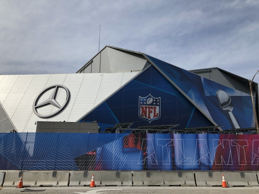 Mercedes Benz Stadium Friday, Feb. 1 2019, two days before Super Bowl 53. Photo by Ema Carr.
