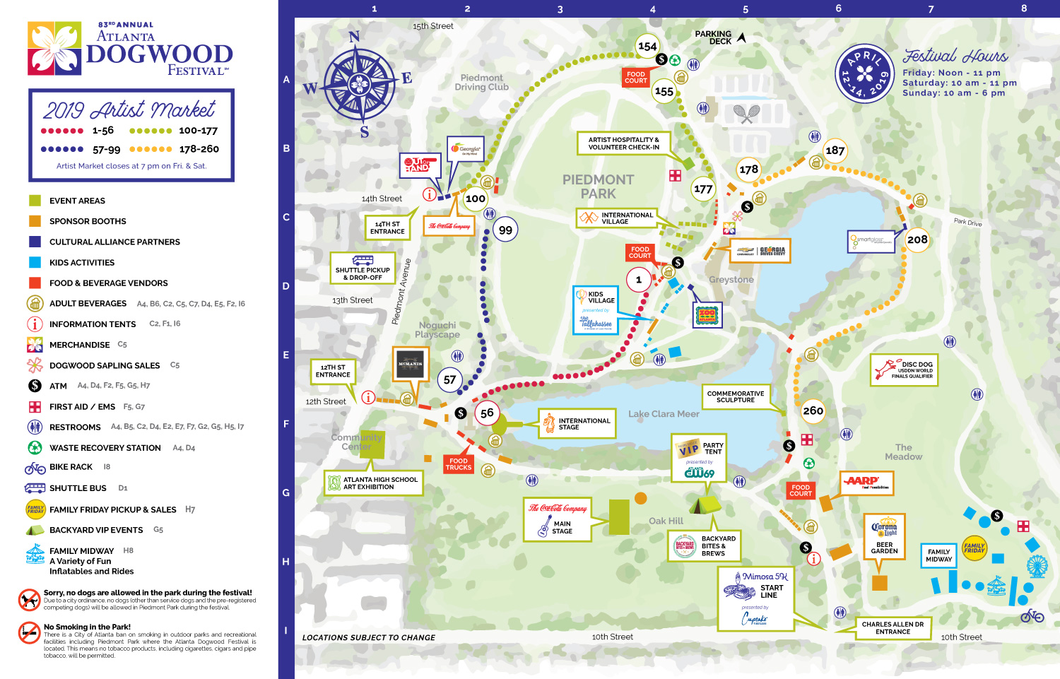 2019 Atlanta Dogwood Festival Map