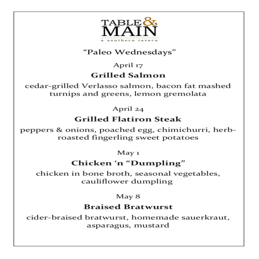 T&M   Paleo Wednesdays