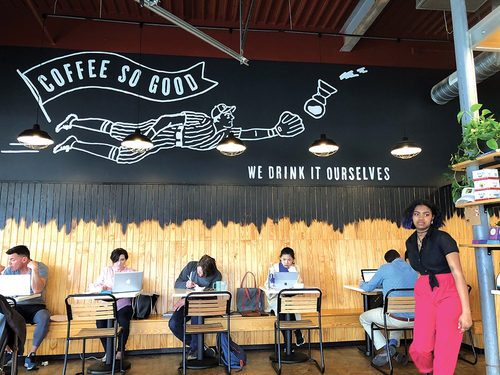 STILLER PARK COFFEE: Every inside table is a work station. Photo: Cliff Bostock.