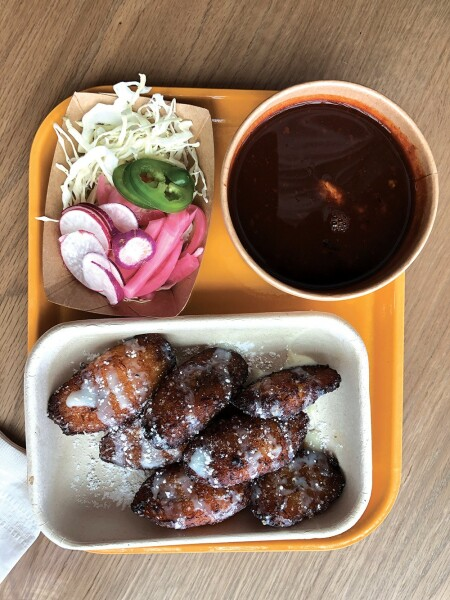PLANTAINS AND POZOLE: Caramelized and dusted with powder or intensely flavored guajillo chile broth. Photo credit: Cliff Bostock.
