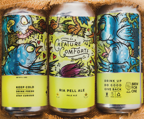 CHEERS, THEN: A six-pack for the late restaurateur Ria Pell, with a portion of the proceeds benefiting the Atlanta Harm Reduction Coalition. Photo credit: Creature Comforts Brewing Co.
