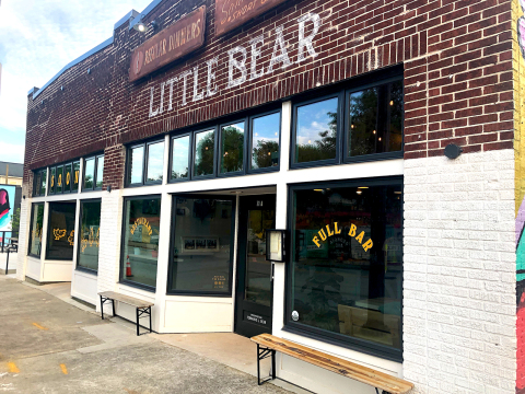 LITTLE BEAR: The nondescript exterior in Summerhill reflects the tamer side of Jarrett Stieber's carefully imperfect aesthetic. It's like the black takeout boxes that contain food fit for eating with your very best magic mushrooms. Photo credit: Cliff Bostock