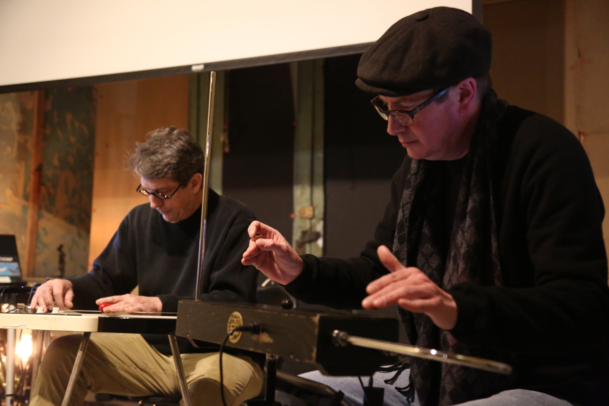 LIVE AT EYEDRUM: Frank Schultz (left) and Scott Burland of Duet for Theremin and Lap Steel. Photo by Brandon English
