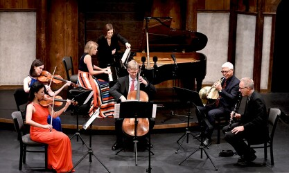 ATLANTA CHAMBER PLAYERS: Performing at the Shakespeare Tavern November 18, 2019, before the canceling of their season are Helen Hwaya Kim (violin), Catherine Lynn (viola), Elizabeth Pridgen (piano), Brad Ritchie (cello), Brice Andrus (horn), and Ted Gurch (clarinet).