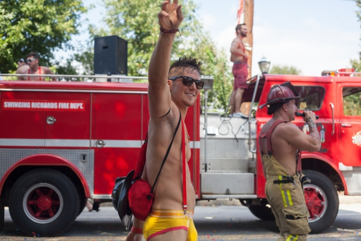 The new firefighter uniforms may be too skimpy for fighting actual fires, but the people on 10th Street enjoyed it.