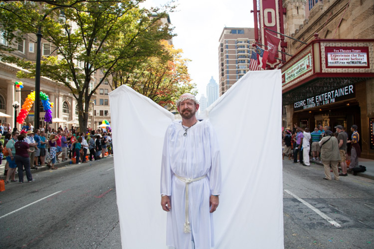 A member of Angel Action Atlanta, a group of paraders whose mission is to block groups of hate from intervening with events like Pride.