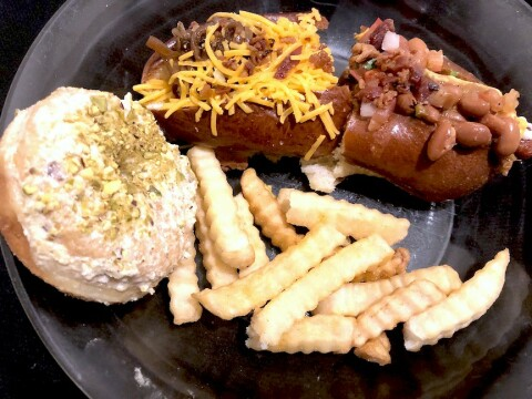 MASH-UP: A pistachio doughnut and fries from Hero and samples of two sausage dogs from Pete's. Photo credit: Cliff Bostock