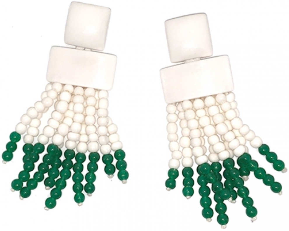 Bone And Jade Earrings