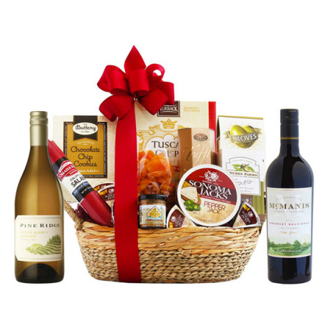 Modern Picnic Basket Wine Gift Set
