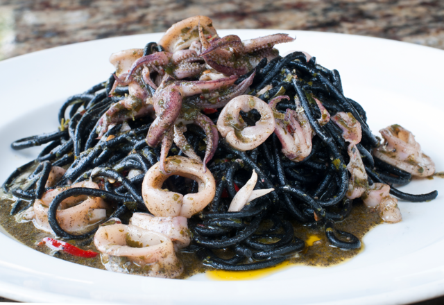 LA TAVOLA: Squid ink spaghetti. Photo by JOEFF DAVIS