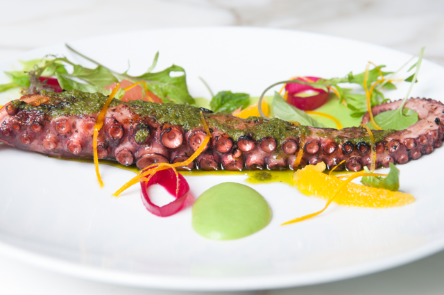 ST. CECILIA: Wood grilled octopus. Photo by JOEFF DAVIS