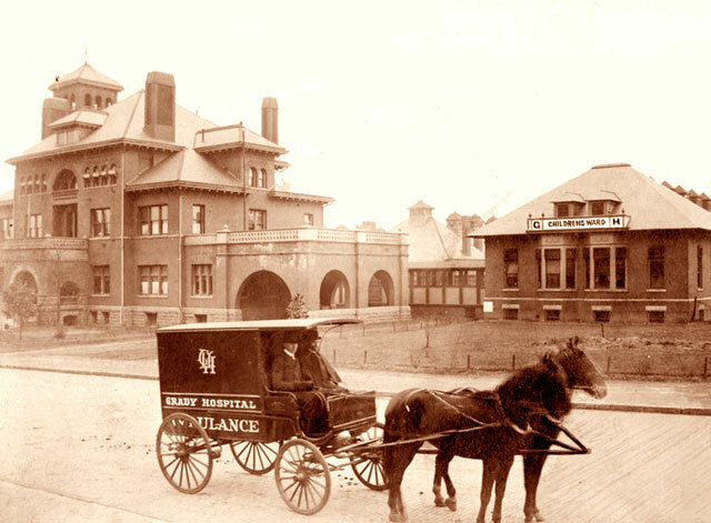 EARLY DAYS: Since opening in 1892, Grady Memorial Hospital has provided medical care to Atlanta's poor. At the time, it had a mere 100 beds, 18 employees and at least two horses. Photo courtesy of Grady Hospital.