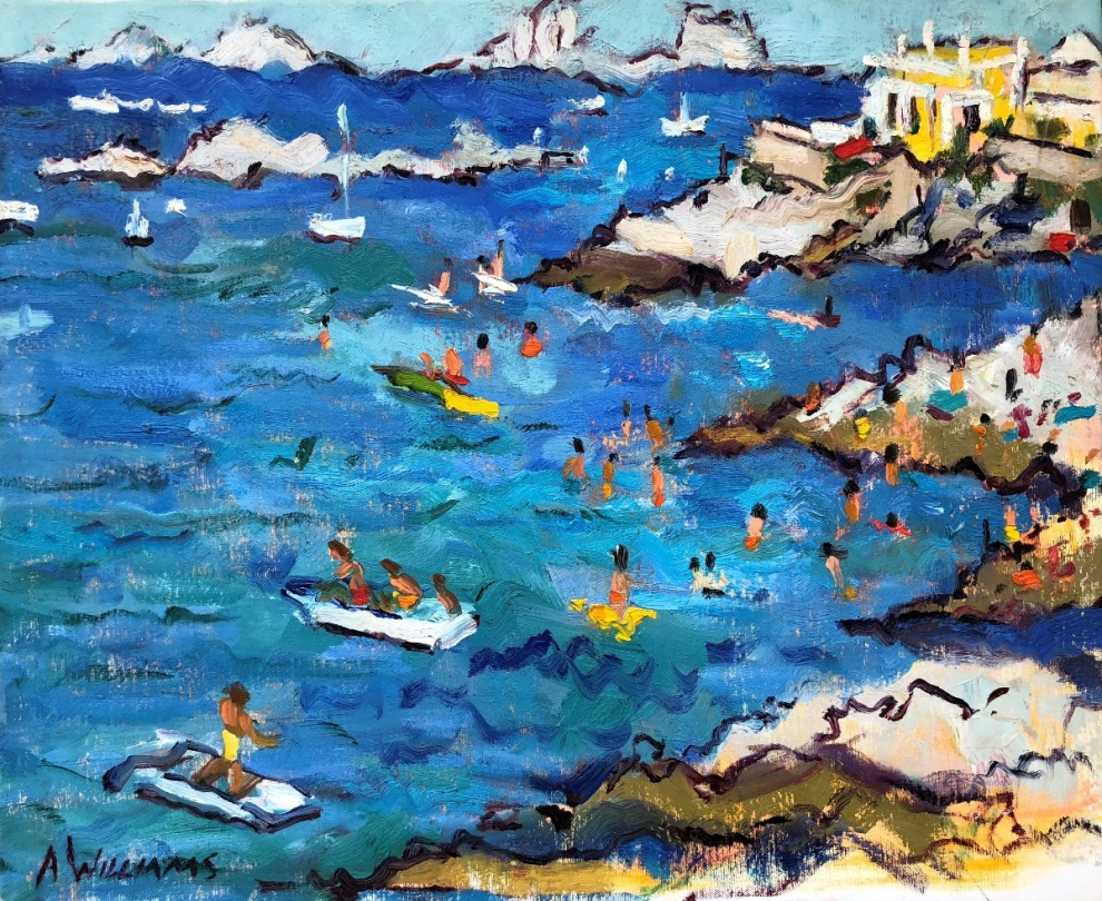 HHFA, Alice Williams, Plaisir Au Soleil A Marseille,19.7x24, Oil On Canvas, $3400