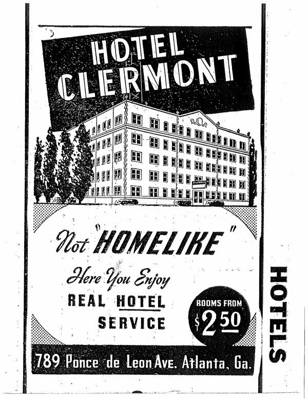 Clermont Hotel Vintage Flyer