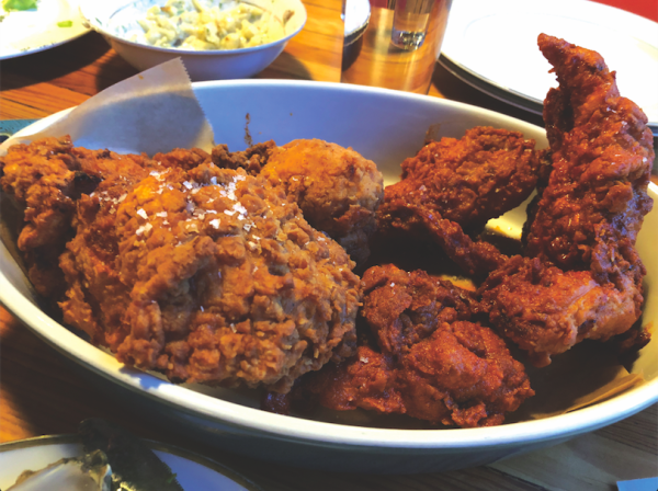 MARY HOOPA'S: Half a Southern fried chicken (left) and half a hot version. PHOTO CREDIT: Cliff Bostock.