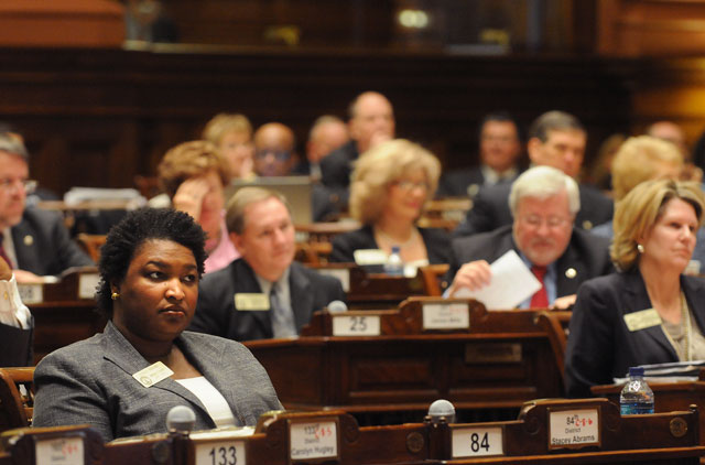 ACROSS THE AISLE: During the 2011 legislative session, state Rep. Stacey Abrams, D-Atlanta, voted for a Republican-backed measure to scale back early voting from 45 days to 21 days. Photo by Joeff Davis/ CL File.